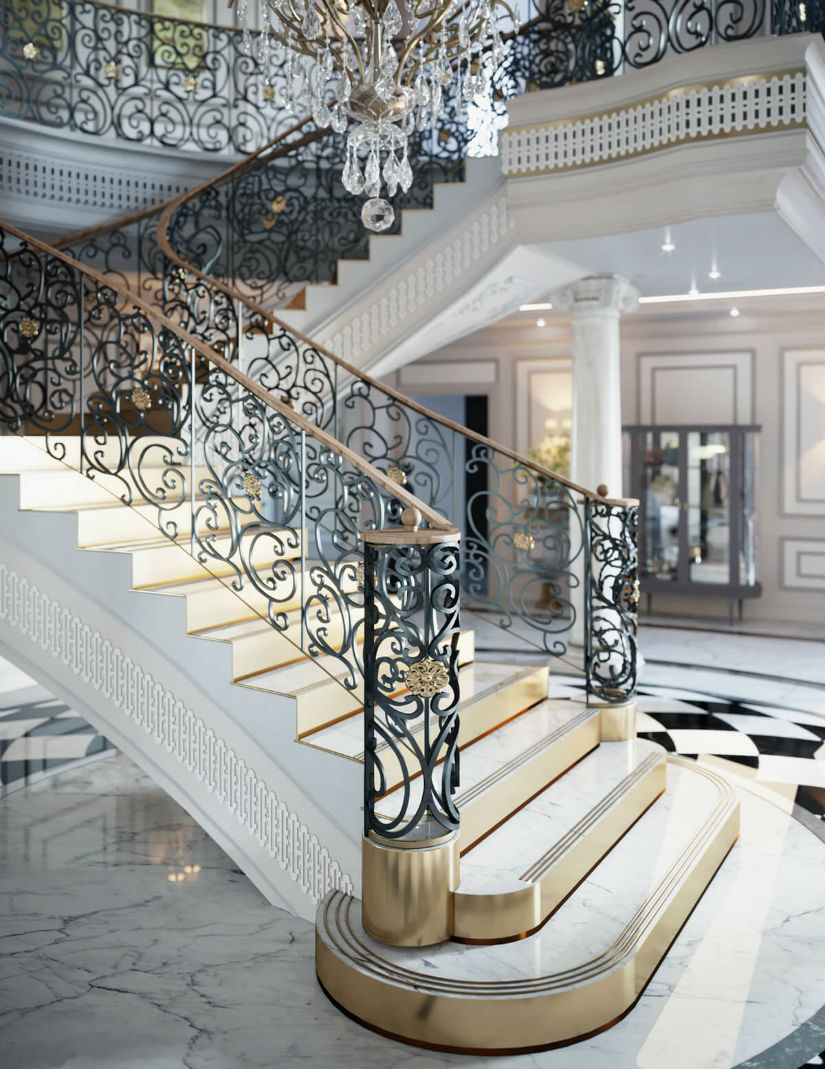 hotel staircase design Riyadh Luxury hotel ideas