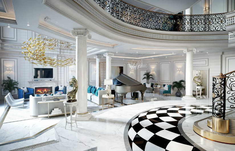 Luxury classic lobby hotel decoration ideas