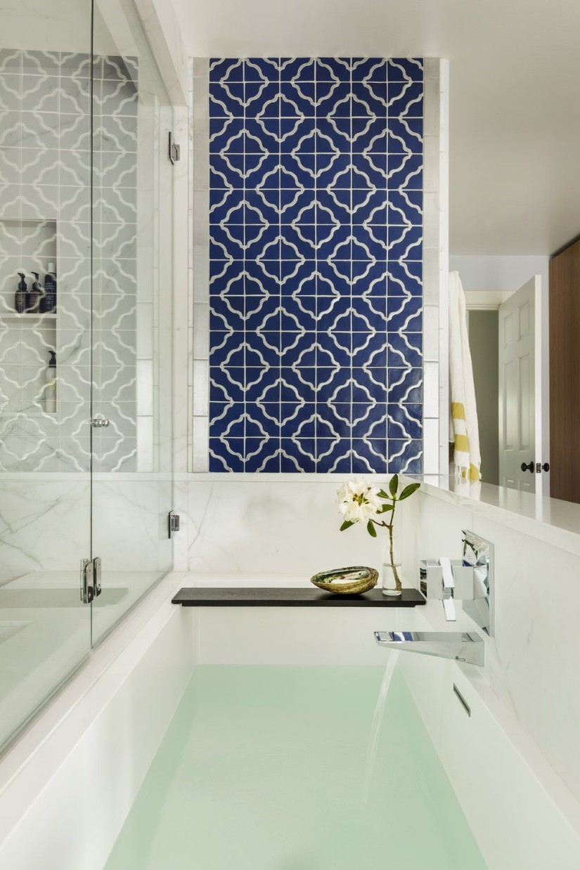 Navy and white tiles