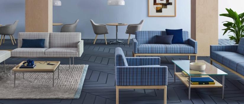 Blue lounge area